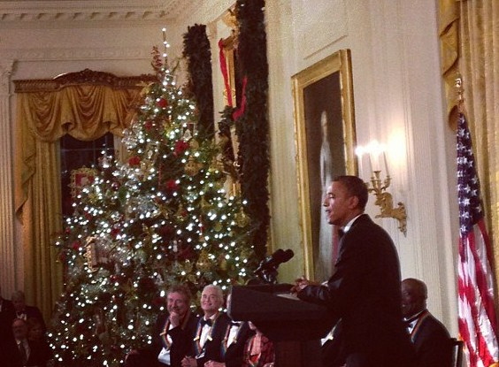 President Obama roasted the members of Led Zeppelin in his remarks to the Kennedy Center Honorees at the White House.
