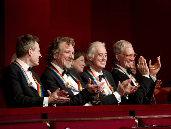 Kennedy Center Honorees John Paul Jones, Robert Plant, Jimmy Page and David Letterman. John F. Kennedy Center for the Performing Arts, Washington, D.C., Dec. 2, 2012.