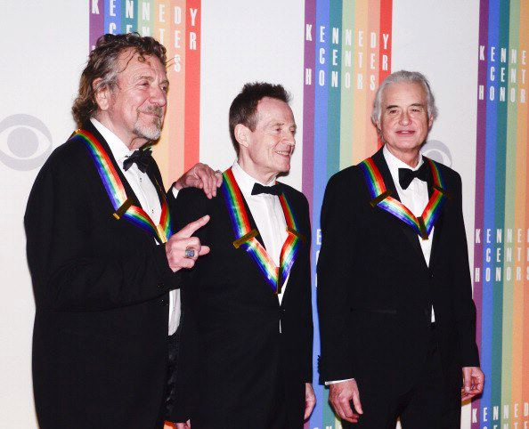 Led Zep's Robert Plant, John Paul Jones, and Jimmy Page on the red carpet at the 2012 Kennedy Center Honors.
