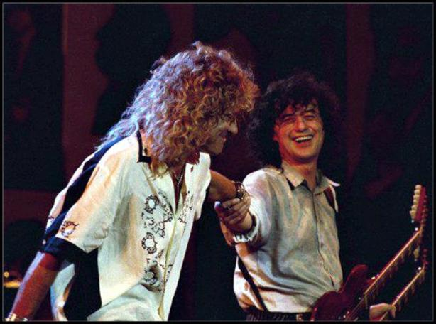 Robert Plant, Jimmy Page, John Paul Jones and Jason Bonham (son of late Zeppelin drummer John Bonham) reunited again at the 40th Anniversary Party for Atlantic Records at New York's Madison Square Garden. May 14, 1988.