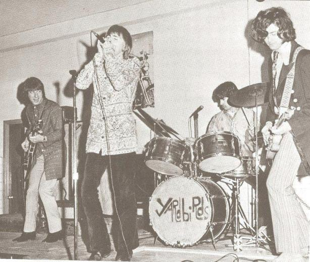 The Yardbirds featuring Jimmy Page playing in the gymnasium of Christ the King Catholic High School, Queens, New York, 1967.